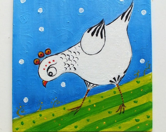 A hen pecking - original acrylic painting on canvas for children