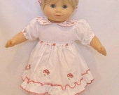 "Bitty Baby White Dress Set with Floral Trim - Fits 15-16"" American Girl Bitty Baby and Standard 15-16"" Sized Dolls"