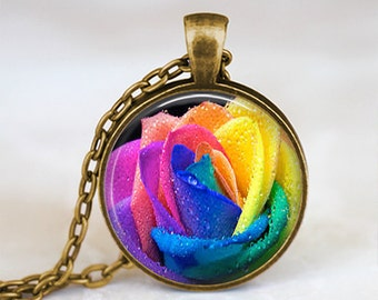 Multicolored Rainbow Rose - Flower Nature Handmade Pendant Necklace
