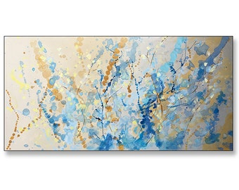 """FREE SHIPPING_Water Dance_36x18"""" Original Painting on Unstretched Canvas"""