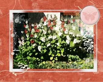 """Note card: Based on my original painting """"Hollyhocks"""", Paper & Party Supplies, Stationary, Watercolor, Art and Collectibles, Gardens, Art"""