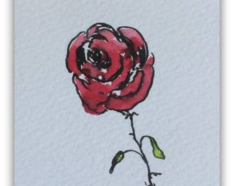 Flower artwork ORIGINAL Miniature Watercolour Painting 'Red Rose' ACEO Floral Rose Red Flowers Home Decor Gift Idea Wall Art, Free postage