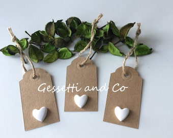 50 Placeholders, labels, gift tags with chalk in kraft paper for wedding