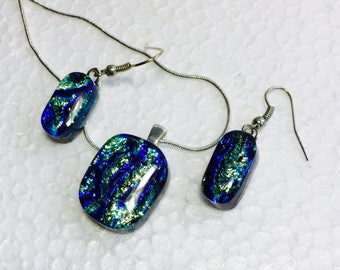 Streams - Beautiful Fused Glass, Dichroic Pendant and Earring set