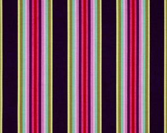 Tula Pink Chipper Tick Tock Stripe Raspberry; 1/2 yard cotton woven fabric