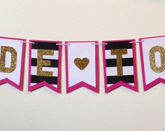 Bride To Be banner in black, white and hot pink, bridal shower, birthday banner or bachelorette party decor