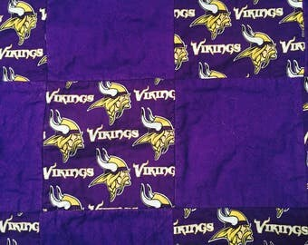 Minnesota Vikings Quilt, Minnesota Vikings Rag Quilt, Minnesota Vikings Blanket, MN Vikings