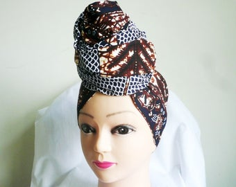 Navy and Brown Spiderweb Ankara Head wrap, DIY head tie, Stylish African head scarf, Fabric hair accessory – Made to Order