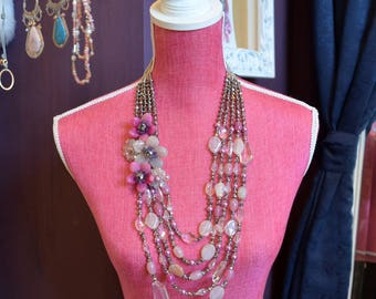 Amethyst Pink Agate Crystal & Freshwater Pearl Hand Wired Beaded Flower Statement Necklace.