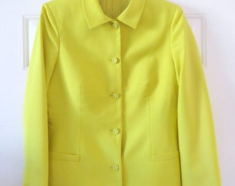 Vintage 90s Istante Versace Chartreuse Yellow Silk Blazer 42 / US 6