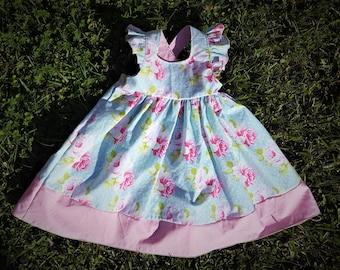 Toddler Girl's Floral Print Dress, Ruffled Sleeved Dress, Summer Dress, Girl's Dress, Flower Print Dress, Toddler Dress, Mother's day dress