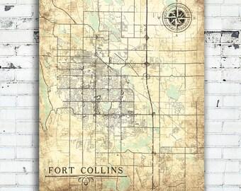 FORT COLLINS CO Canvas Print Colorado Vintage map Fort Collins co Vintage City Wall Art wedding gift poster Vintage retro old antique map