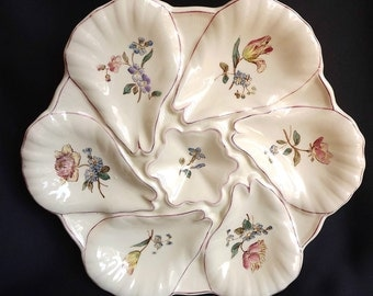 French Antique Longchamp Majolica Scalloped Oyster Plate - French Scallop Shell Jacques Plate - Seafood - Floral Decor