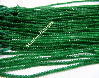 High Quality Diamond Cut Green Onyx Rondelle Beads / 2-2.5mm Micro Faceted Natural Green Onyx Beads / Length 13 inches long / Jewelry Beads