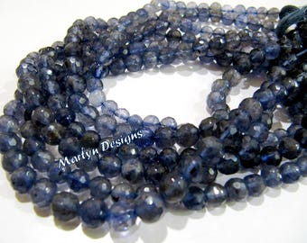 Exclusive Iolite Gemstone Faceted Ball Shape Beads , Natural Dark Blue 6 to 10mm Size Iolite Beads , Length 10 inches , Micro Faceted Beads