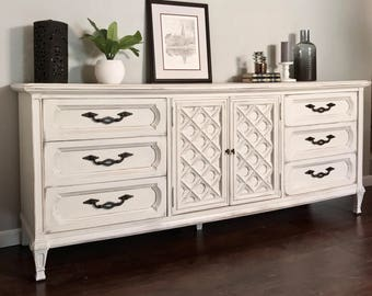 SOLD - Vintage, Dresser, Thomasville Buffet, Credenza, Hand Painted, Annie Sloan, Chalk Paint, Cream, Distressed, Antique Furniture