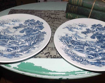 Vintage (c.1960s) Wedgwood Countryside Blue transferware dinner plate. Blue-&-white English countryside scene