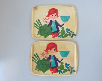 2 large platters fiberglass TUPPERWARE from TINA T. mid century 1960's 1970 '60s 70's vintage tray