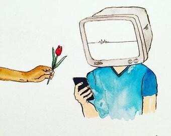 "Just Look Up | 8x10"" Modern Art Print | Made by Jimbob Original Art | Give a Flower | Get Off Your Phone"