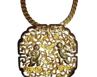 Judith Leiber Chinese Motif Pendant Necklace