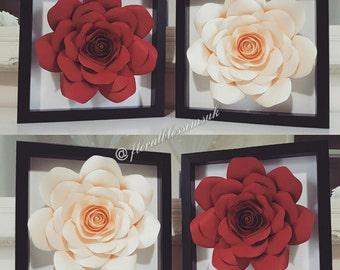 """Paper flower frame 9"""" x 9"""""""