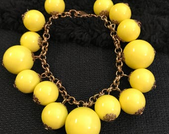 Cha Cha Gold Tone Bracelet-Yellow Lucite Beads Cha Cha ,Mod,Mad Men Bracelet-Chunky Bracelet-Vintage 1960's