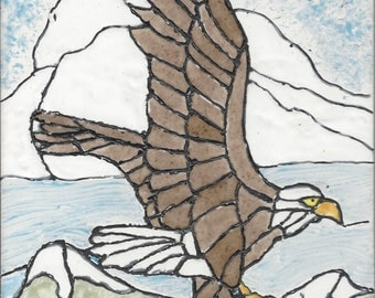 Eagle #002 Soaring the Mountains Hand Painted Kiln Fired Decorative Ceramic Wall Art Tile 8 x 6