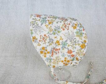 Baby Bonnet Hat - Baby Sun Hat - Flowers - Linen