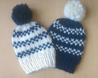 Navy Blue and White Baby Knit Hat, navy blue baby beanie, baby shower gifts, baby boy winter hat, white baby beanie