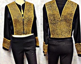 Black Lepard Funky Wild Croped vintage Shirt