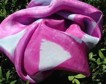 Hand Dyed Play Silk - Magenta and Turqoise - Waldorf Play Silk - Montessori Play Silk - Play Silk - Silk Scarf - Square Silk Scarf