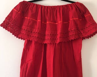 Campesina mexican red blouse