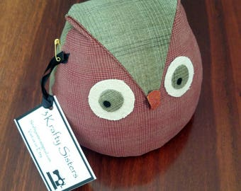 Owl Doorstop, Red with green trim,very cute, cotton with lentil filling