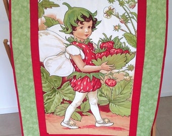 Strawberry Shortcake Fairy cot quilt, Play Mat, Cuddly Quilt, Wall hanger, *SHIPPING INCLUDED
