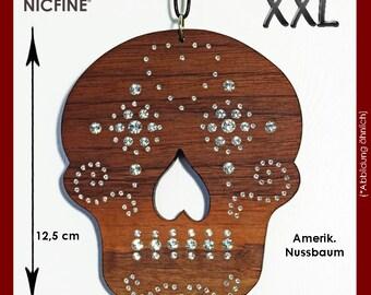 "X-Mas hanger death mask made of wood, with SWAROVSKI element ""unique piece"""
