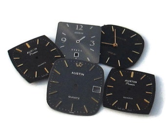 5 Large Metal Watch Dials Faces, for Altered Art or Steampunk Supply(#WF24)