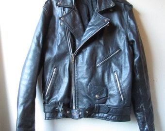 Vintage 90s Black Leather Heavy Duty Motorcycle Jacket Size 50