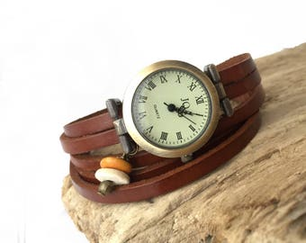 Ladies watch / vintage wood beads / With / band brown leather wrap, leather bracelet