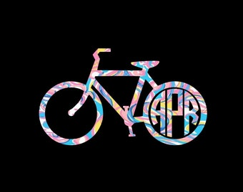 Preppy Patterned Bicycle Monogram Decal available in fun prints in your choice of sizes!