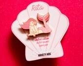 Rita Pinup Mermaid Rose Gold Plated Hard Enamel Lapel Pin