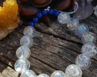 Dark Blue Round Beads with Large Clear Shattered Glass Beads Bracelet on Clear Stretchy Cord