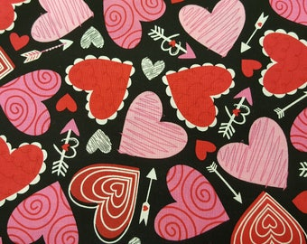 Crazy Multicolor Hearts on Black Cotton Fabric Brother Sister Design Studio by the Yard