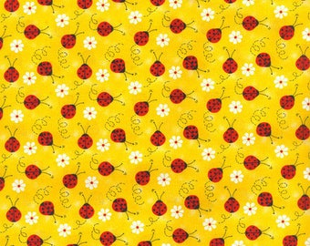 Ladybug With Daisy Printed Yellow Cotton Fabric, End of Bolt 1 Yard