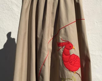 Vintage 1980's Skirt * Khaki * Red Bird * Cockatoo * Size Medium *