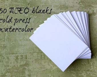 Watercolor ATC / ACEO Blanks (50) ... Artist Trading Cards Cold Press Watercolor Paper 140 lb Artist Supplies Art Supply Acid Free Textured