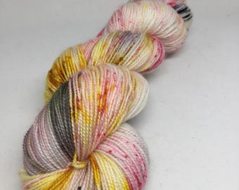 Hand dyed sparkle based sock yarn in pink yellow and black. Flamingo 2 speckled  yarn, sock yarn, Splashpad party exclusive
