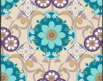 Ocean Gems Bazaar for Art Gallery Fabric by Pat Bravo | Medallions | Teal Cotton | Bright | Floral Print | Art Gallery | Moroccan BA 301