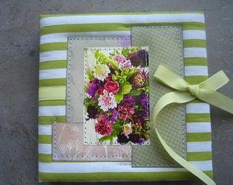 Accordion Photo Book, Spring Flower, photo album 4x4, Handmade scrapbook album