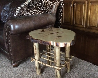 Rustic Indoor/Outdoor Wood Slab End Table