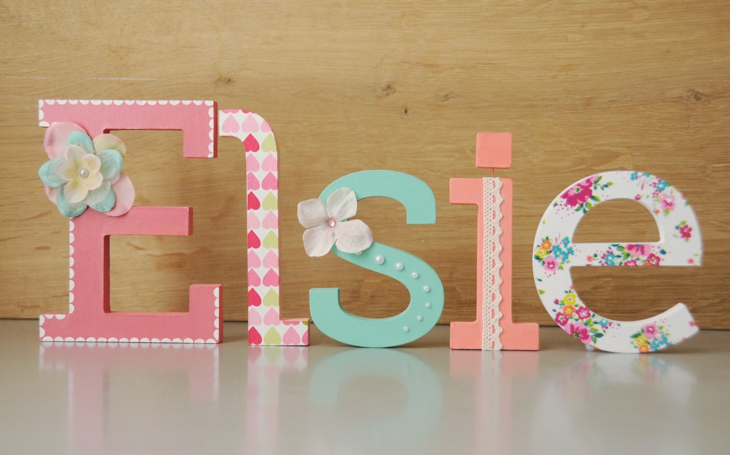 Wooden Letter Name // Hand Painted And Decorated Wooden